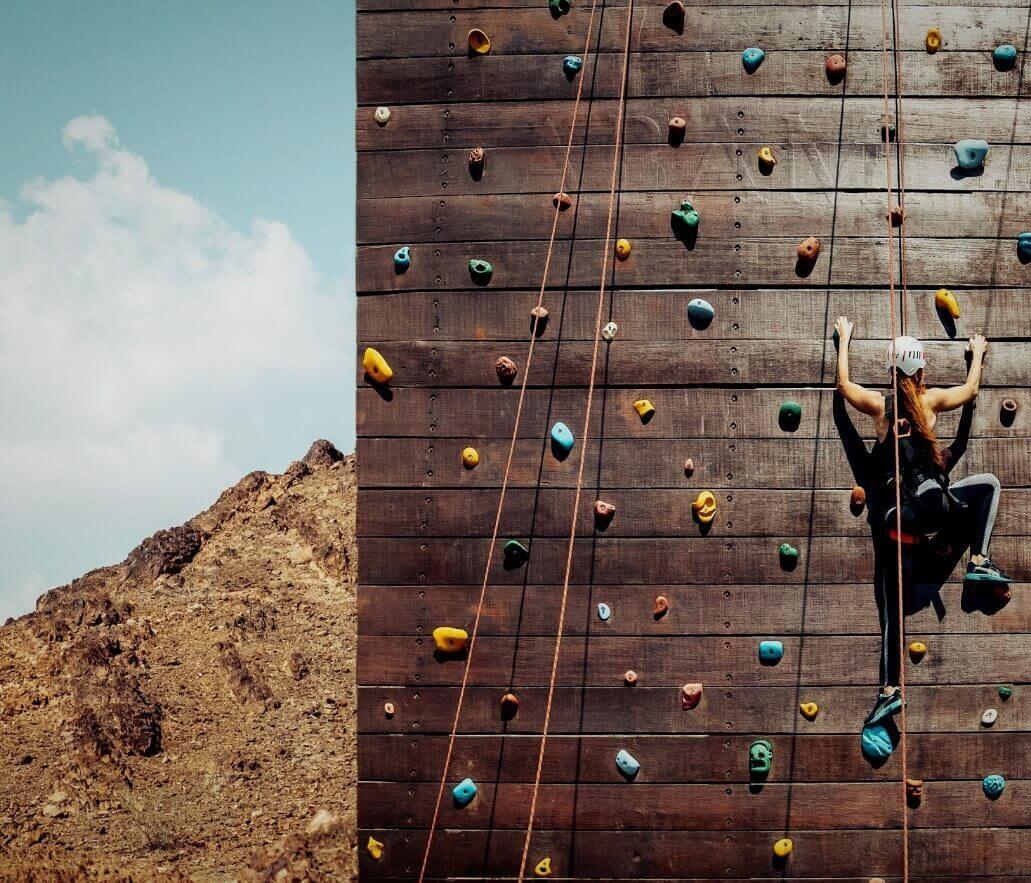 Woman Wall Climbing