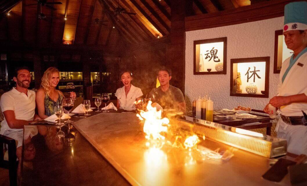 Couples Looking at Hibachi Grill