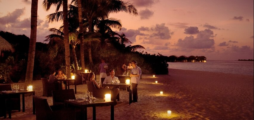 Beachfront Dining at Night