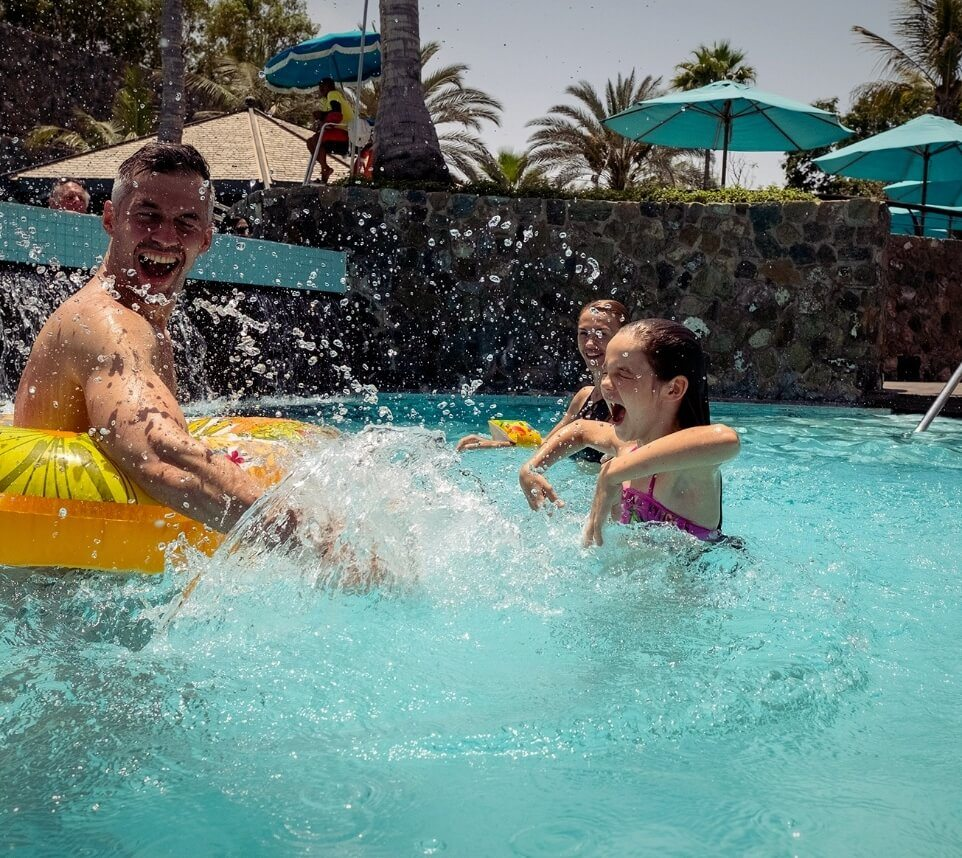Family Splashing In Pool