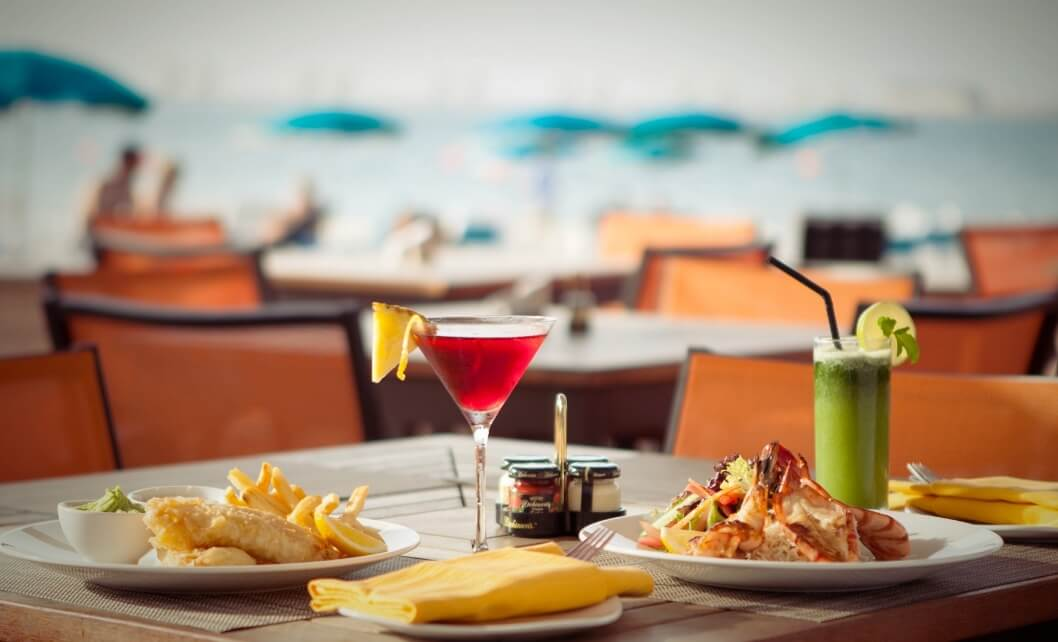 Lunch And Cocktails On Outdoor Table