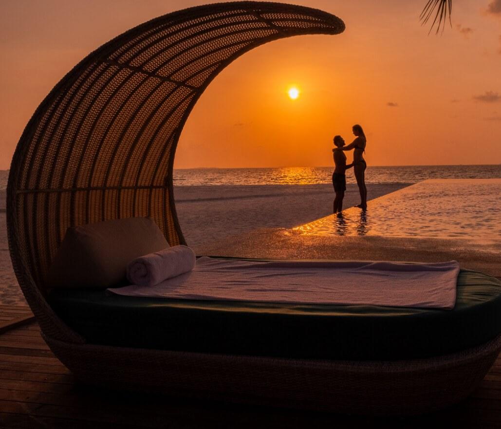 Beach Lounger at Sunset
