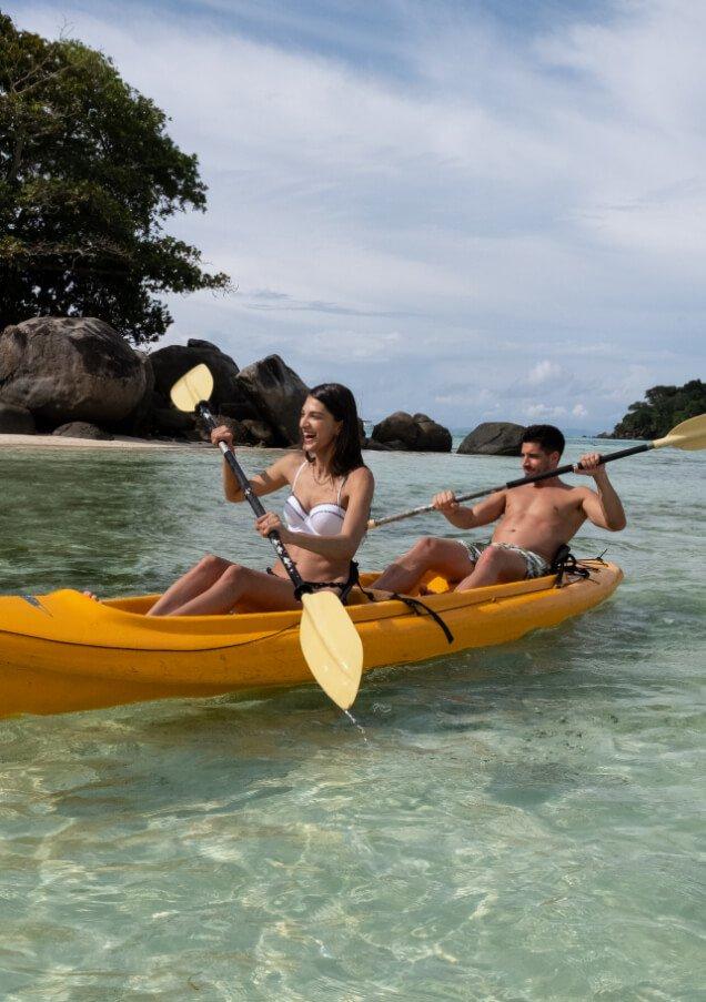 Couple Kayaking in Seychelles