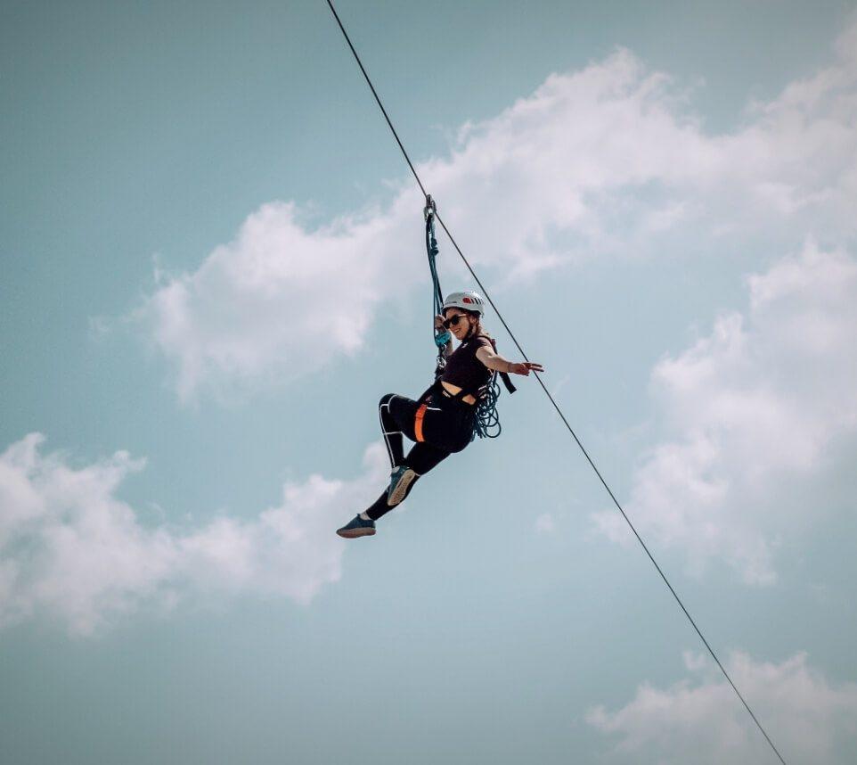 Woman Zip Lining