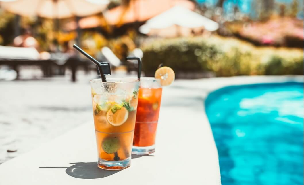 Two Drinks by Pool