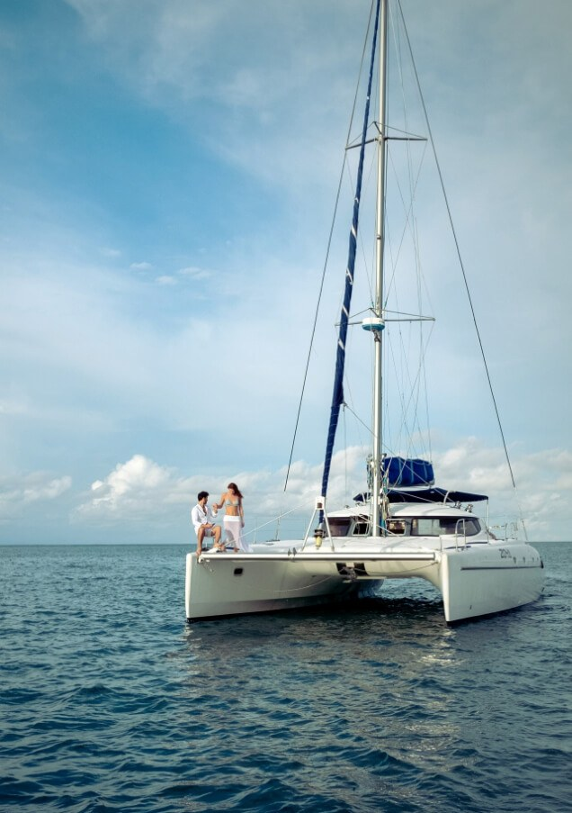 Couple On Yacht In Ocean