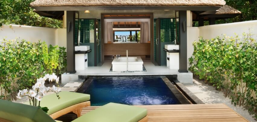 Beach Bungalow Bathroom with Private Pool