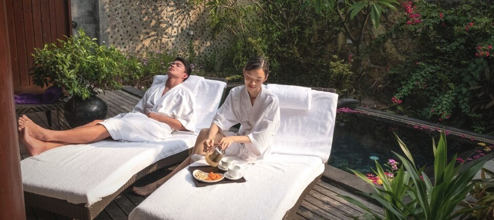 Couple Lounging with Bathrobes